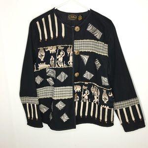 Allure Vintage Black Tribal Print Blazer S Medium